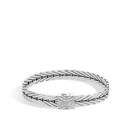 Modern Chain 8MM Bracelet in Silver with Diamonds