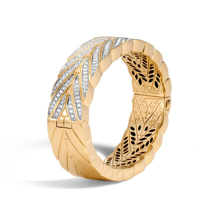 Modern Chain 17.5MM Hinged Bangle, 18K Gold with Diamonds