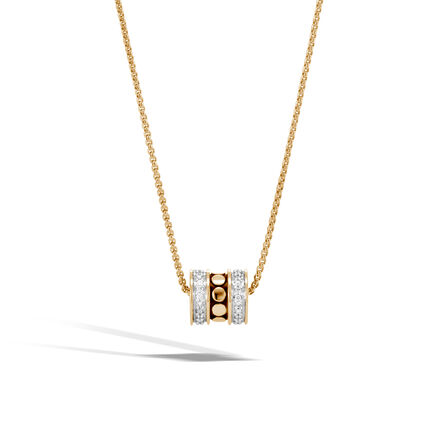 Dot Pendant Necklace in 18K Gold with Diamonds