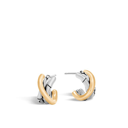 Bamboo Small J Hoop Earring in Silver and 18K Gold