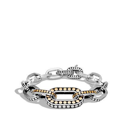 Dot Graduated Link Bracelet in Silver and Brushed 18K Gold