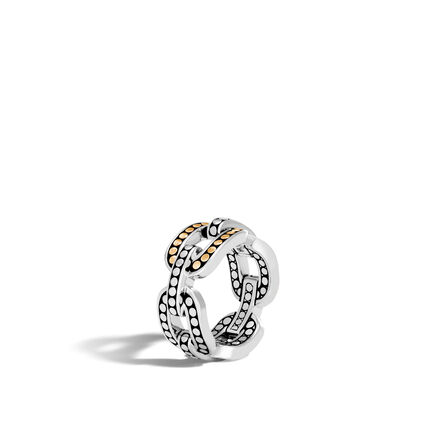 Dot 10MM Band Ring in Silver and Brushed 18K Gold