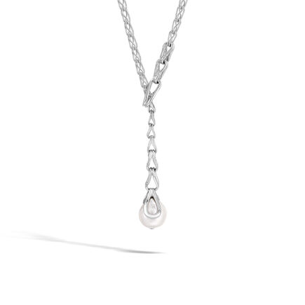 Bamboo Y Necklace in Silver with 14MM Pearl