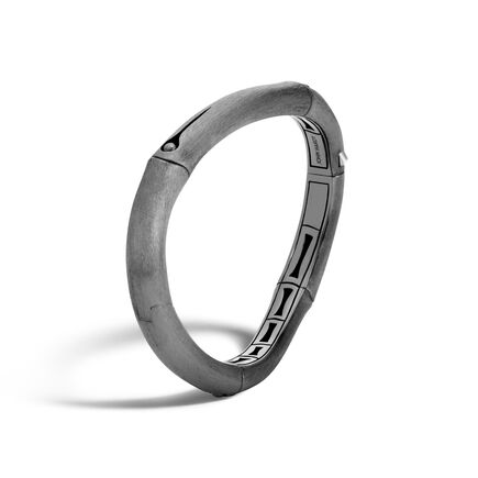 Bamboo 9MM Curved Hinged Bangle in Blackened Brushed Silver