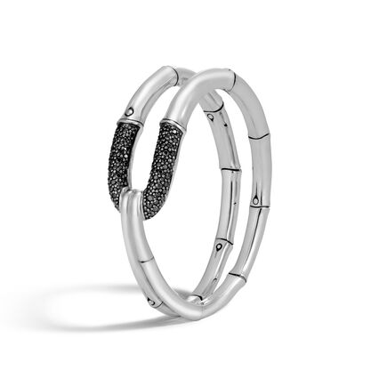 Bamboo 21MM Cuff in Silver with Gemstone