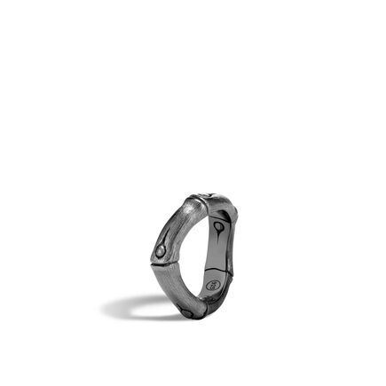 Bamboo 6MM Curved Band Ring in Blackened Brushed Silver