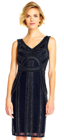 Sequin Beaded Dress with Sheer Cutout Waist and Open Back
