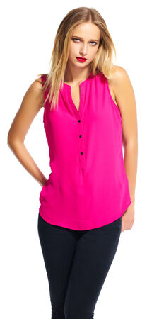 Sleeveless Button Down Top with V-Neckline