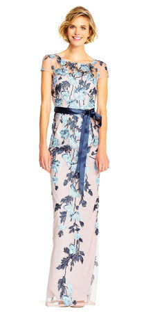 Short Sleeve Floral Embroidered Gown with Ribbon Tie Waist