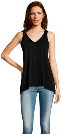 Racerback Sleeveless Top with Embroidered Details