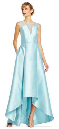 High Low Ball Gown with Sheer Lace Neckline