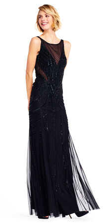 Sleeveless Beaded Mermaid Gown with Sheer Insets
