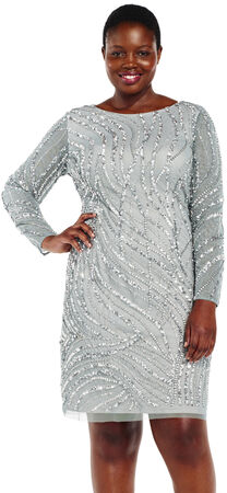 Swirl Beaded Sheath Cocktail Dress with Long Sleeves