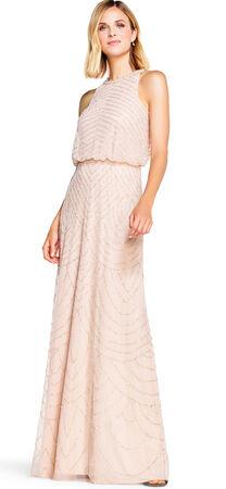 Art Deco Beaded Blouson Dress with Halter Neckline