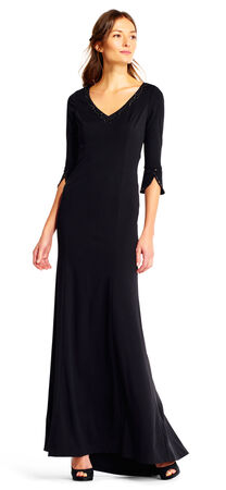 Crepe Mermaid Dress with Beaded Neckline and Elbow Bell Sleeves