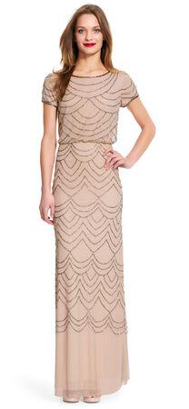 Short Sleeve Beaded Blouson Gown