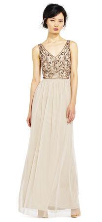 Sleeveless Filigree Beaded Chiffon Dress