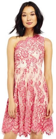 One Shoulder Scalloped Lace Dress
