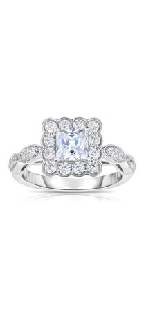 Princess-Cut Diamond Scallop Frame Engagement Ring in 14K Two-Tone Gold
