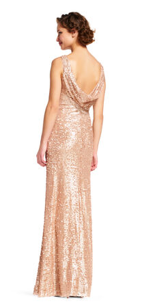 Sequin Halter Dress with Cowl Back