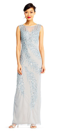 Sleeveless Column Dress with Beaded Palm Accents