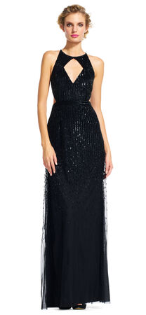 Beaded Halter Gown with Cutout Neck and Waist