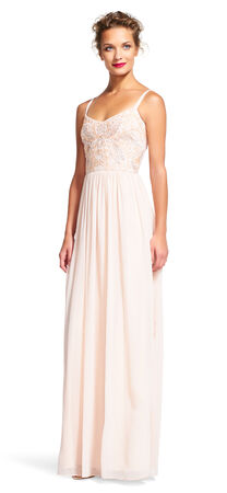 Chiffon Dress with Beaded Bodice