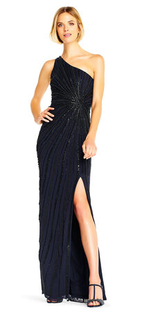 One Shoulder Evening Gown with Starburst Beading