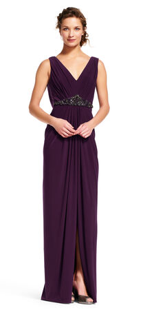Draped Dress with Beaded Waist and Cowl Back