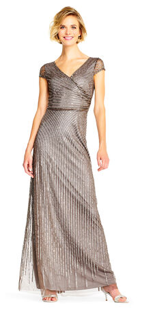 Sheer Cap Sleeves Beaded Gown with Wrap Front