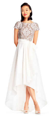 Short Sleeve High Low Taffeta Dress with Lace Bodice