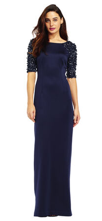 Column Dress with Sequin Beaded Sleeves