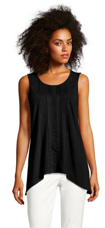 Sleeveless Embroidered Tank Top with Asymmetrical Hem