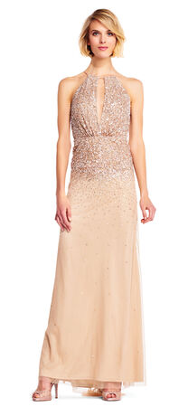 Beaded Halter Gown with Plunging Keyhole Neckline