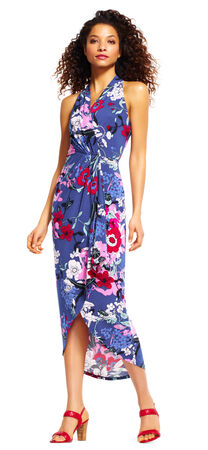 Floral Print High Low Midi Dress with Wrap Front