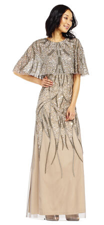 Beaded Cape Dress with Sheer Accents