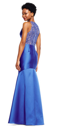 Mikado Mermaid Dress with Sheer Lace Back