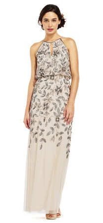 Floral Beaded Halter Dress with Godet Skirt