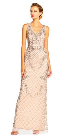 Floret Beaded Column Gown with V-Neckline