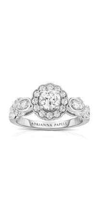Diamond Scallop Frame Engagement Ring in 14K Two-Tone Gold