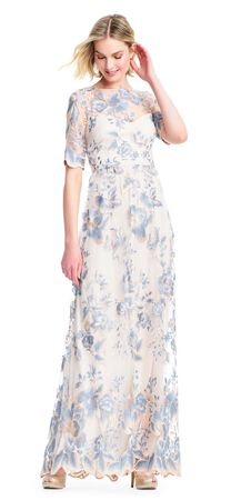 Short Sleeve Floral Embroidered Dress with Sheer Neckline