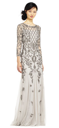 Three Quarter Sleeve Beaded Godet Gown with Illusion Details
