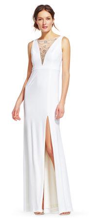 Jersey Dress with Jeweled Illusion Neckline