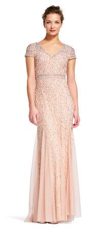 Short Sleeve Contour Beaded Godet Dress with V-Back