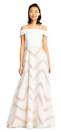 Off The Shoulder Ball Gown with Brushed Chevron Print Skirt