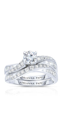 Diamond Wave Bridal Set in 14K Two-Tone Gold