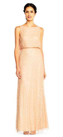 Sequin Popover Mermaid Gown with Cowl Back