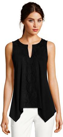 Sleeveless Embroidered Asymmetrical Top with Split Neckline