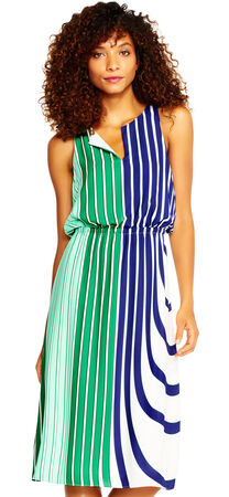 Colorblock Stripe Print Blouson Dress with Split Neck