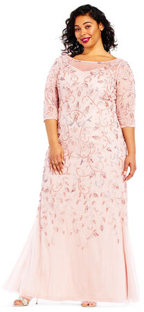 Scroll Beaded Dress with Sheer Elbow Sleeves